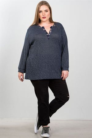 Plus Size V Neck Long Sleeve Relaxed Top - Navy