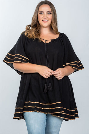 Plus Size Tunic Style Boho Top With Tassel Tie - Black
