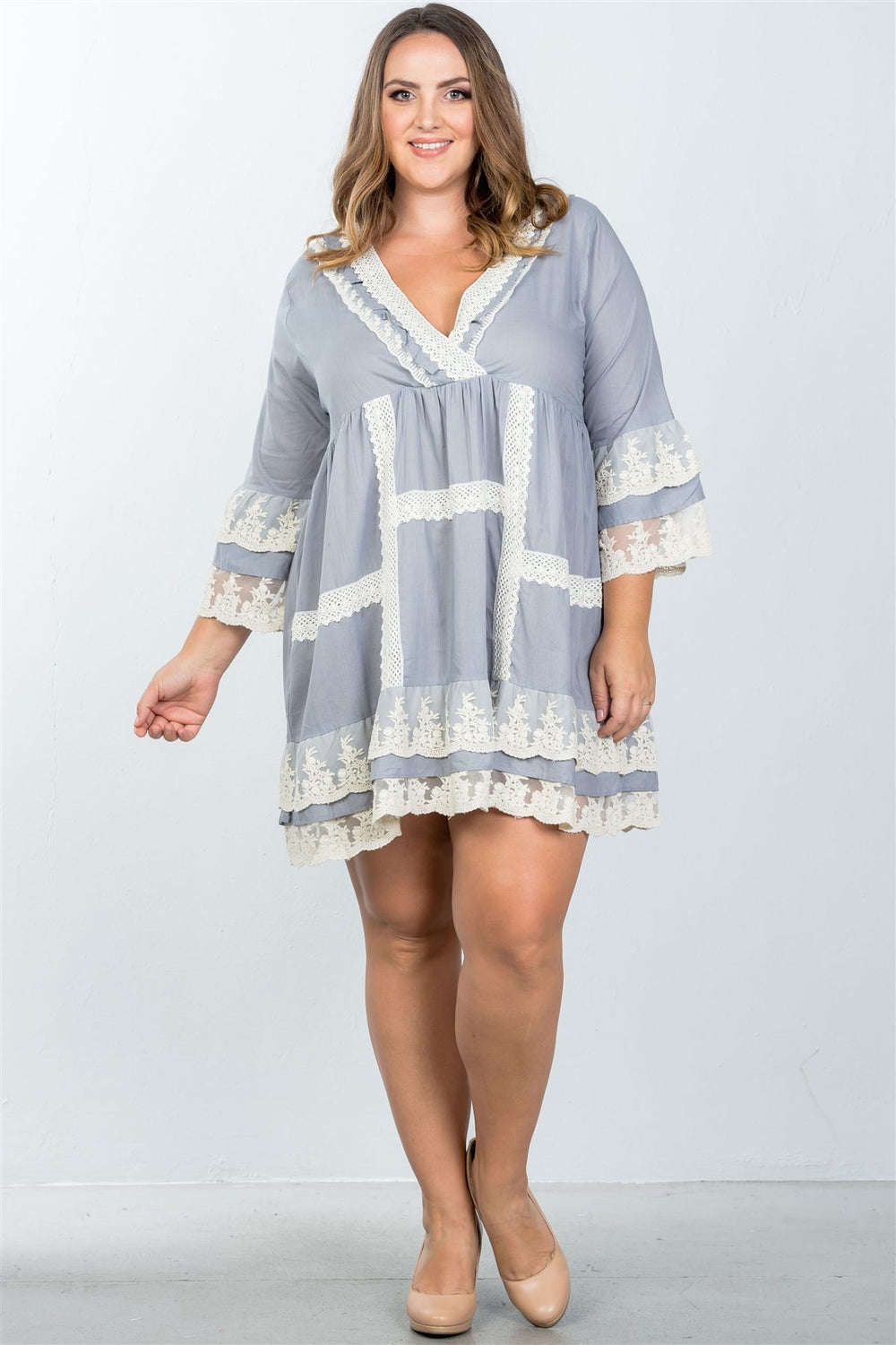 Plus Size Boho Styled Lace Crochet Mini Dress - Gray