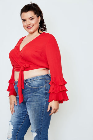 Plus Size Tiered Bell Sleeve Crop Top - Red