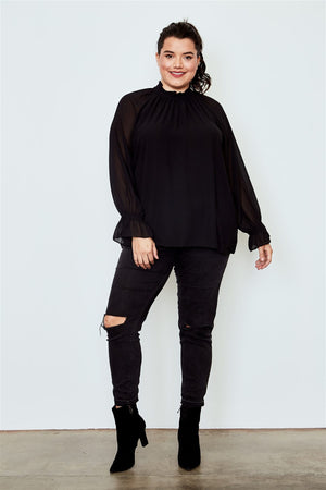 Plus Size Long Sleeve Ruffle Neck Top - Black