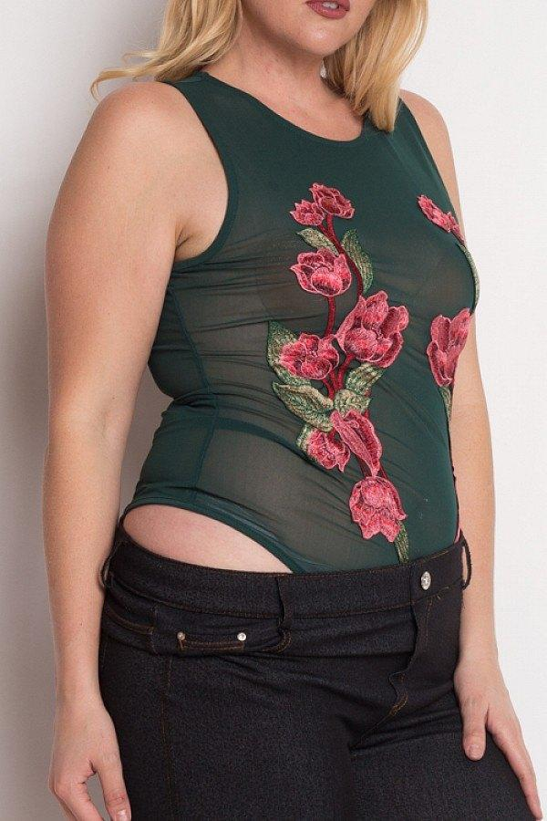 Plus Size Floral Embroidery Mesh Bodysuit - Hunter Green