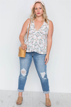 Plus Size Sleeveless Floral Print Lace Up Top - Off White