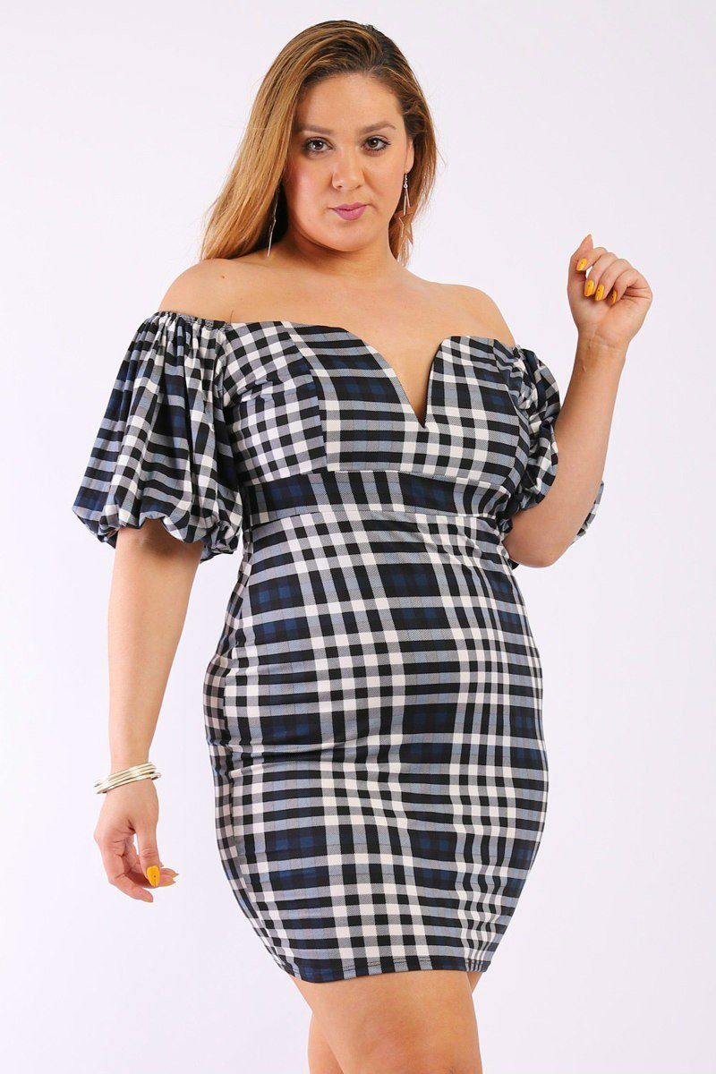 Plus Size V-Neck Off Shoulder Mini Dress With Bubble Sleeves - Navy - 1XL