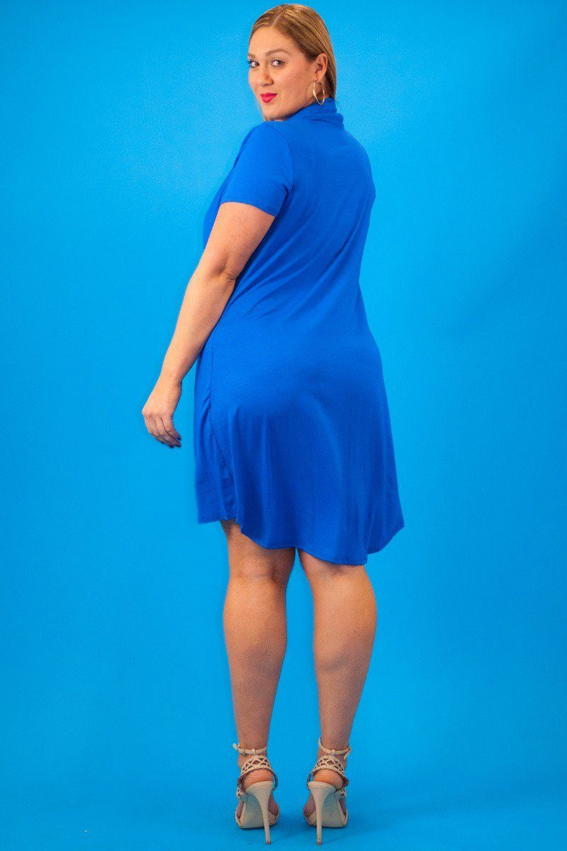 Plus Size Solid Short Sleeve V-Neck Midi Dress/Top With Details in A Hilo Hemline - Blue