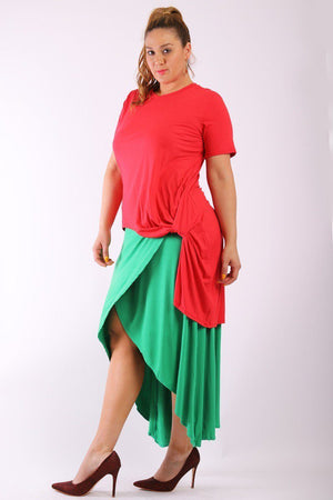 Plus Size Short Sleeve Tee With Round Neck, Hilo Hemline & Long Body Back Tail - Red