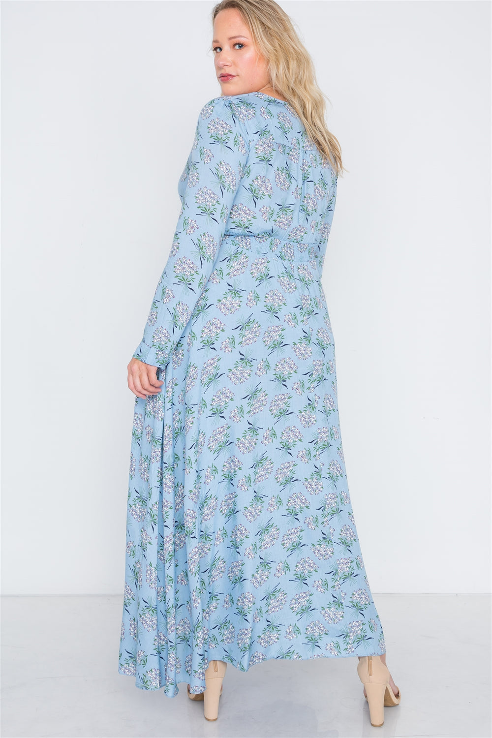 Plus Size Floral Summer Button Down Maxi Dress - Light Blue