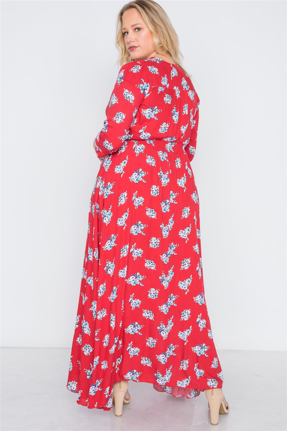 Plus Size Floral ud83cudf3a Summer Maxi Dress With Button-Down Design - Red u2764ufe0f