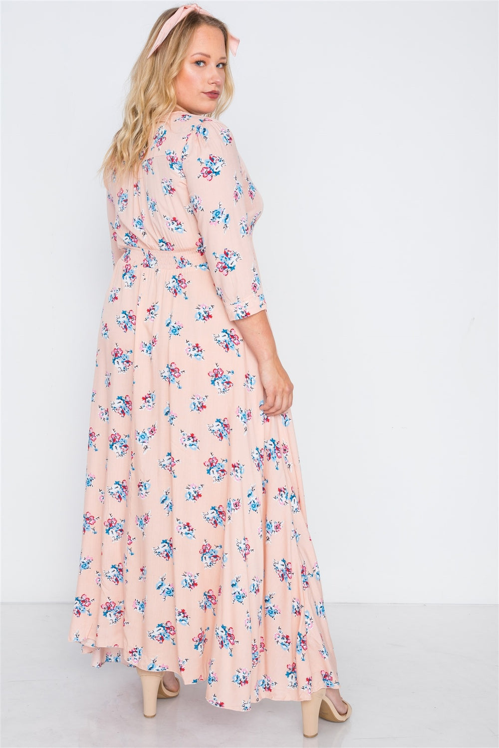 Plus Size Floral _ٍ Summer Maxi Dress With Smocked Waist - Pink - XL
