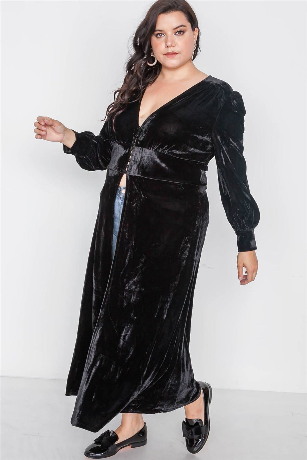 Plus Size Black Velvet Maxi Top Cover Up