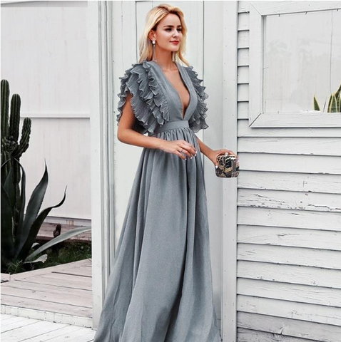 Ruffles high waist Evening party sexy maxi Dress
