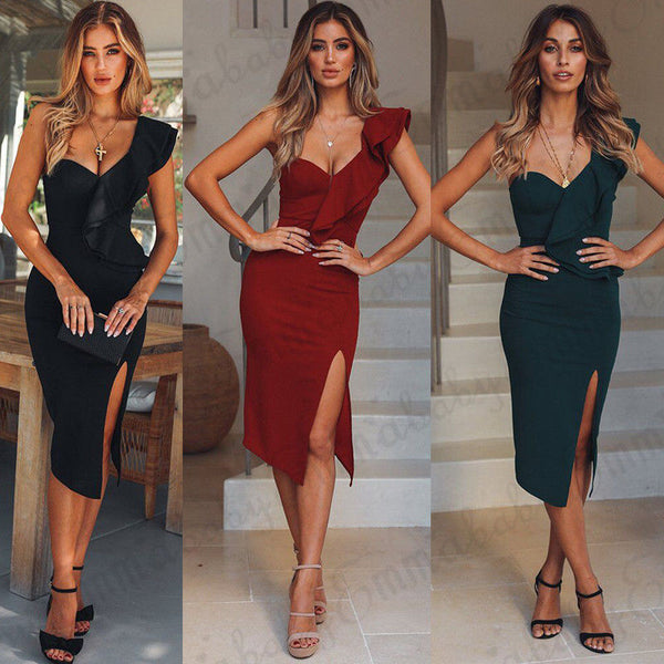 Casual Bandage Bodycon Clubwear  Midi Dress