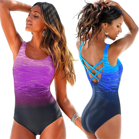 Vintage Sexy High Neck Bandage Criss Cross Back Monokini Swimwear