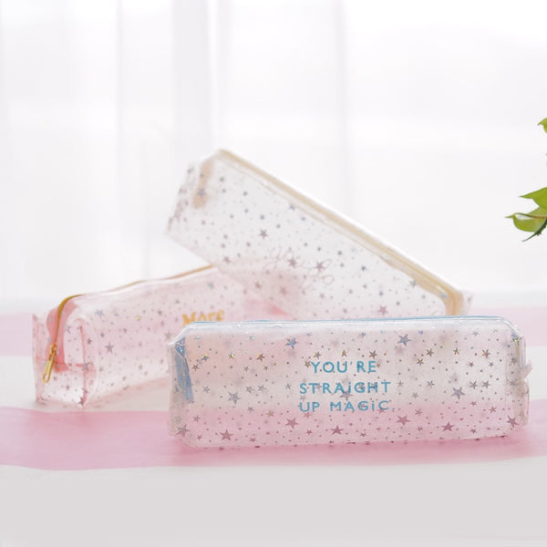 Beautiful Girl Star PVC Large Capacity Pencil Bag Stationery Storage Organizer Pencil Case School Supply