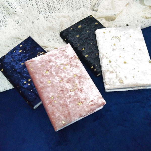 """Starry Night"" Beautiful Big Journal Velour Fabric Soft Cover Notebook Diary Stationery Gift Replaceable Papers"