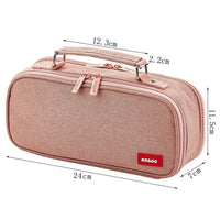 Double Layer Large Capacity Pencil Case Canvas Kawai Kids School Supplies Make Up Bag Pen Box Student Pouch Stationery Gift