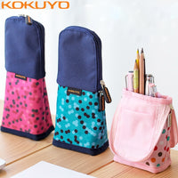 KOKUYO Japan Kawaii Pencil Case Standing Polka Dot Canvas Pencil Bag Kids School Pen Box for Girls Cute Pencilcase for Boy Girl