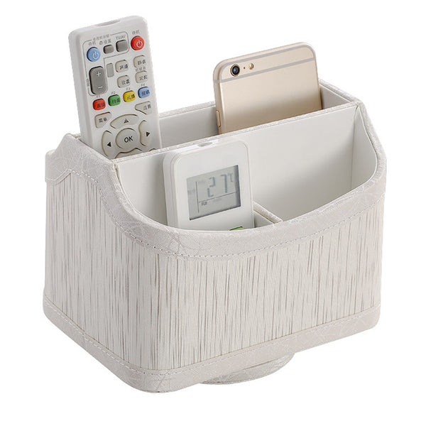 PU Leather Desktop Retro Office Home Phone Holder Stationery Makeup Storage Box Remote Control Luxury Container Rotatable