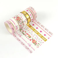 New Valentine designs Pink washi tape set Washi Tape Adhesive Tape DIY decorative Tape valentine gift for sweet girls
