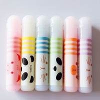 N14 Set of 6 Cute Animals Panda Cat Mini Highlighter Paint Marker Pen Drawing Liquid Chalk Stationery School Office Supply