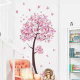 Pink Butterfly Tree Wall Sticker Decal