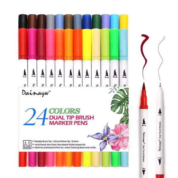 Artsy 24 Colours Brush Pen Set