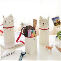 """White Cat"" Pencil Bag Canvas Cute Zip Around Big Pocket Study Stationery Case Bag"