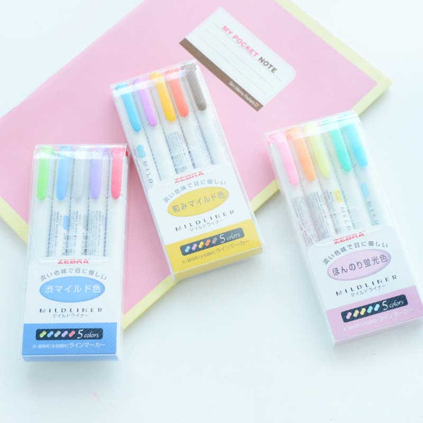 Zebra Double Sided Highlighter Set of 5