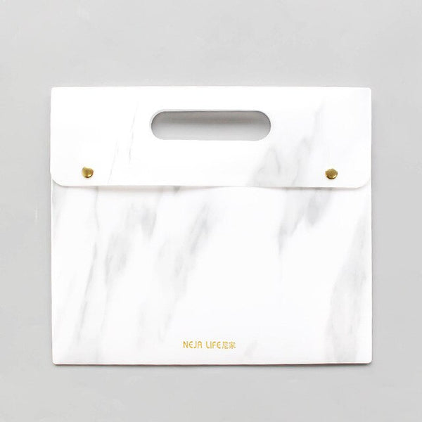 Portable Marble A4 Document Bag Waterproof File Folder Examination Paper Organizer Case Expanding Files Office Stationery