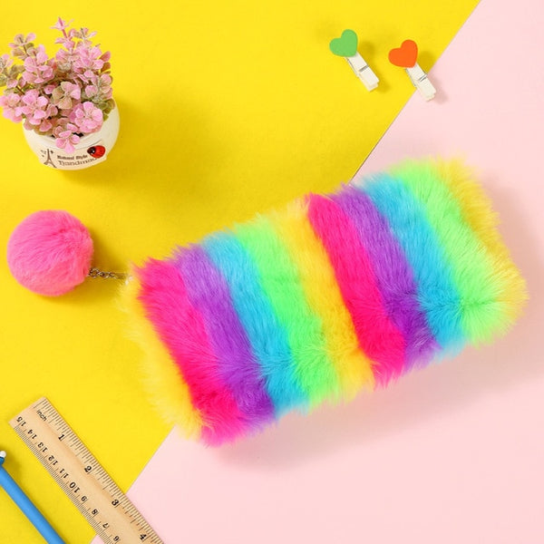 Rainbow Plush Sequins Pencil Case Stationery Storage Organizer Bag School Office Supply Escolar