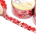 Lunar New Year - Lucky Red Florals Washi (10mm) (Glitter Red Foiled)
