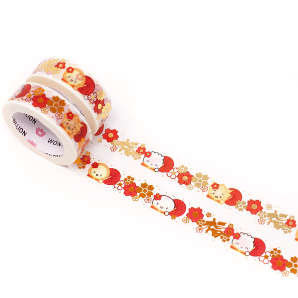 Lunar New Year - Red Parasols Washi (15mm) (Gold OR Copper Foiled)
