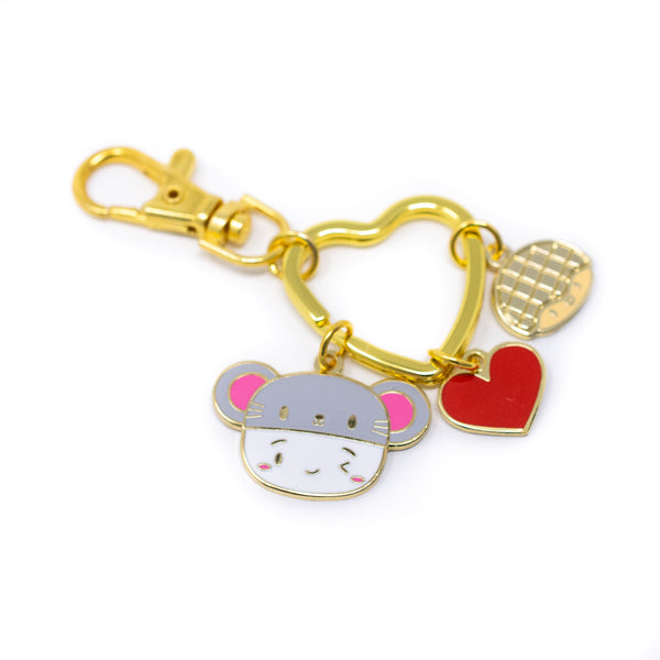 [DAY 12] Lunar New Year - Year Of The Rat Steamie Gold Enamel Keychain with Pineapple Bob
