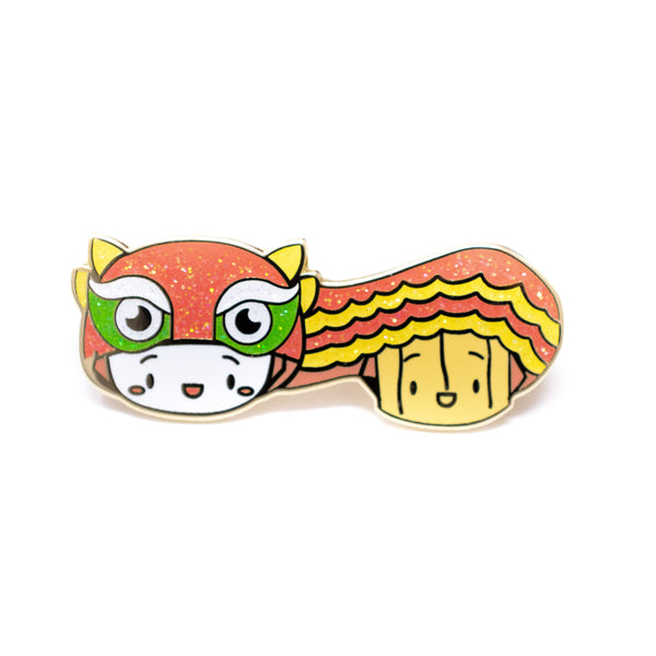 Lunar New Year - Steamie and Suey Do A Lion Dance Glitter Gold Enamel Pin