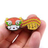 [DAY 7] Lunar New Year - Steamie and Suey Do A Lion Dance Glitter Gold Enamel Pin