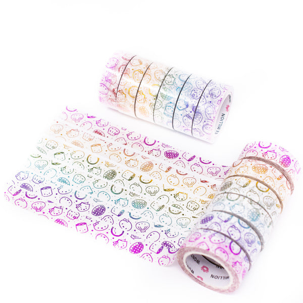 Pride Collection - Steam Team Rainbow 15mm Washi (Set Of 6) [note: has foil ghosting]