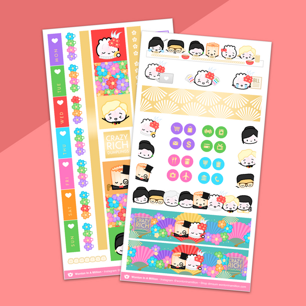 Crazy Rich Dumplings Hobonichi Weeks Sticker Kit (Gold Foil) - on washi sticker paper!