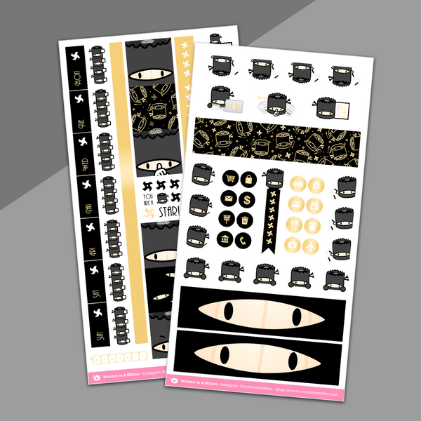 Ninja Suey Hobonichi Weeks Sticker Kit (Gold Foil) - on washi sticker paper!