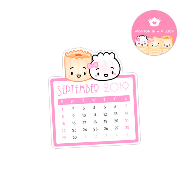 2019 09 - September Calendar Diecut Sticker