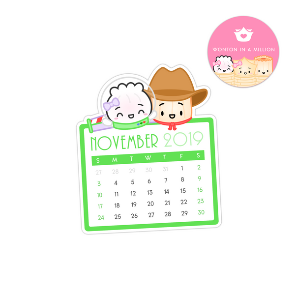 2019 11 - November Calendar Diecut Sticker