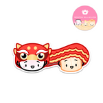 [DAY 13] Lunar New Year - Steamie and Suey Do A Lion Dance Diecut Sticker