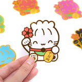 Maneki Neko Diecut Sticker - Happiness (White)