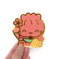 Maneki Neko Diecut Sticker - Health (Red)