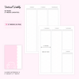 B6 Notebook/Insert - PINK (Weekly Vertical Layout Pages, 27 Weeks) - 5x7""