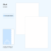 B6 Notebook/Insert - BLUE - SOUPY (Blank Pages, 56 Pages) - 5x7""