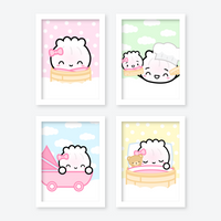 "Baby Steamie - 5x7"" Nursery Prints (Set Of 4)"