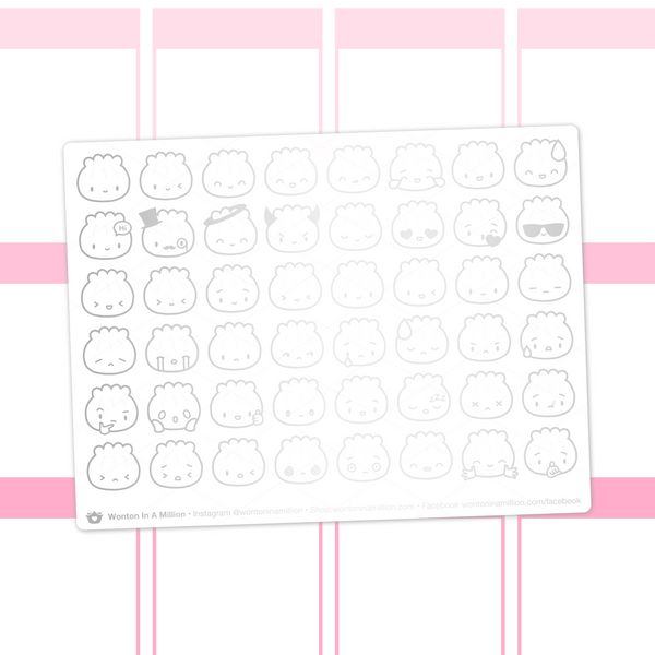 Steamie Emoji Clear Stickers (Silver Foil)