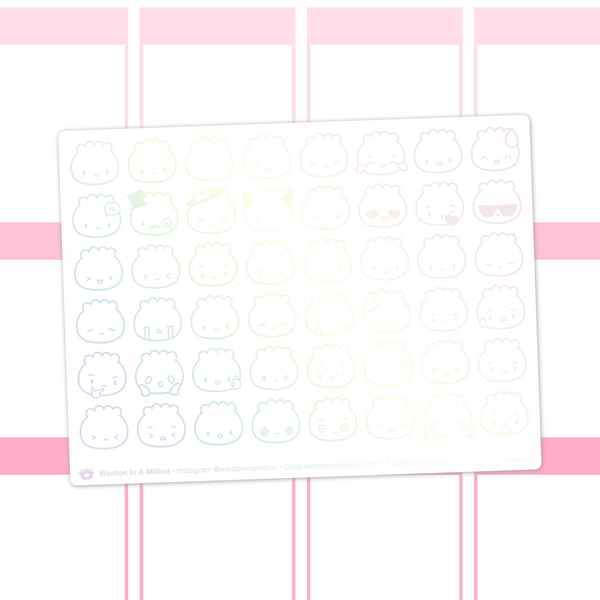 Steamie Emoji Clear Stickers (Holo Foil)