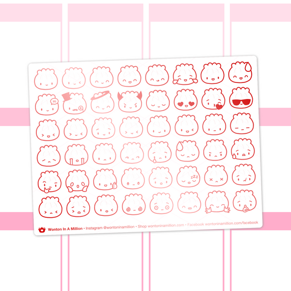 Steamie Emoji Clear Stickers (Red Foil)