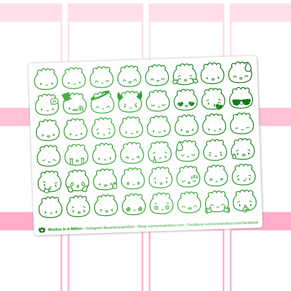 Steamie Emoji Clear Stickers (Green Foil)